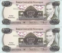 PAREJA CORRELATIVA DE NICARAGUA DE 100000 CORDOBAS DEL AÑO 1987 CON RESELLO (BANKNOTE) SIN CIRCULAR-UNCIRCULATED - Nicaragua