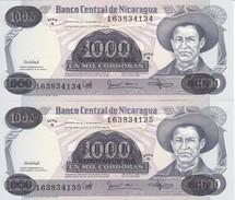 PAREJA CORRELATIVA DE NICARAGUA DE 500000 CORDOBAS DEL AÑO 1987 CON RESELLO (BANKNOTE) SIN CIRCULAR-UNCIRCULATED - Nicaragua