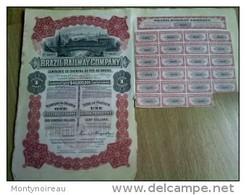 Vieux Papier , Genre Action Porteur  :  Brazil Railway - Train Company , Chemin De Fer Au  Brésil , Portland,sao Paulo, - Actions & Titres