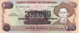 BILLETE DE NICARAGUA DE 200000 CORDOBAS DEL AÑO 1985 CON RESELLO (BANKNOTE) SIN CIRCULAR-UNCIRCULATED - Nicaragua