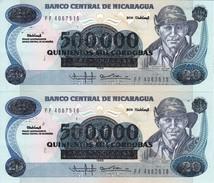 PAREJA CORRELATIVA DE NICARAGUA DE 500000 CORDOBAS DEL AÑO 1985 CON RESELLO (BANKNOTE) SIN CIRCULAR-UNCIRCULATED - Nicaragua