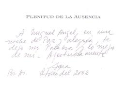 PLENITUD DE LA AUSENCIA LIBRO POESIA AUTORA SARA MAFFEI DEDICADO Y AUTOGRAFIADO POR LA AUTORA - Poëzie