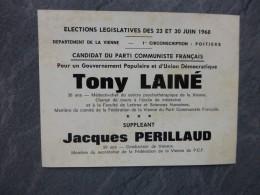 POITIERS, Elections Législatives 1968 Bulletin TONY LAINE ; Ref 315 VP 26 - Documents Historiques