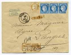 Lettre CHARGE De DIJON / Aff  TP CERES  Tarif à 90c / Bloc De Chgt Rouge Sur Le Recto (RR) / Janv 1873 - Marcophilie (Lettres)