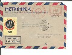 Hongrie, Lettre Par Avion + Vignette Foire, Metrimpex Budapest - Düsseldorf Germany (131159) - Hungary