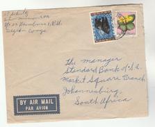 1960 Air Mail RUANDA URUNDI COVER 3f Flower 1f GORILLA Stamps To STANDARD BANK Johannesburg SOUTH AFRICA Monkey Banking - Ruanda-Urundi