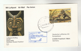 1985 ZAIRE First FLIGHT COVER Stamps LIONS Lion To Germany Card Aviation - Zaire
