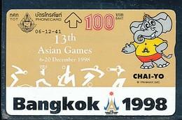 THAILAND Telefonkarte Sport Asian Games , Elefant -gebraucht - Deportes