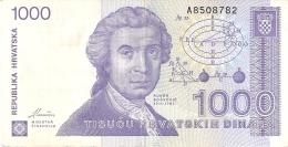 CROATIE   1000 Dinara   8/10/1991   P. 22a - Croatie