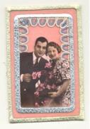 FANTAISIE - Couple , Découpis, Feutrine, Chaînette , Dorure,...- Carte Artisanale 2 Volets (rl) - Coppie