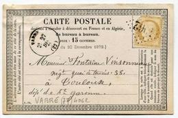 !!! CARTE PRECURSEUR CERES CACHET DE VABRE (TARN) 1875 - Entiers Postaux