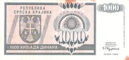 CROATIE   1000 Dinara   1992   P. R5a - Croatie