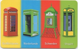 Telefonkarte Allemagne 2002 : Thème Cabines Téléphoniques : Grande Bretagne - Pays-Bas - Suède - Hongrie - Téléphones