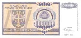 CROATIE   1 Million Dinara   1993   P. R10a   SUP - Croatie