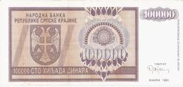 CROATIE   100,000 Dinara   1993   P. R9a - Croatie