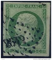 France - 1853 - 5 C. Dukelgrün  Auf Grünlich Mi-Nr. 11b  - Kaiser Napoleon III,vollrandig  , Gestempelt !! - 1853-1860 Napoléon III