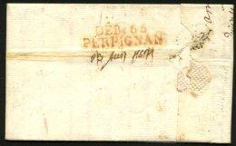 PYRENEES ORIENTALES : Pli De AMIENS (SOMME) De 1821 En Port Du Avec Marque DEB.66 PERPIGNAN + Paraphe + Date P OSSEJA - Marcophilie (Lettres)