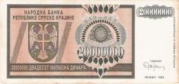 CROATIE   20 Million Dinara   1993   P. R13a - Croatie