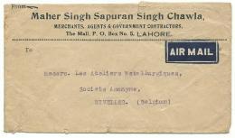 Inde / Pakistan - Lahore - Air Mail 11 DEC 35 Vers Nivelles Belgique