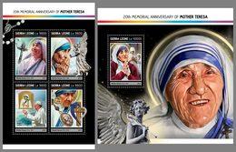 SIERRA LEONE 2017 - Mother Teresa, M/S + S/S. Official Issue.
