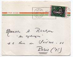 Côte D'Ivoire-lettre De ABIDJAN Pour PARIS (France)-timbre Seul Sur Lettre--cachet Avec Couronne (éléphant) - Côte D'Ivoire (1960-...)
