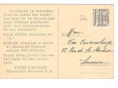 TP 81 Roulette Jodoigne 1911 S/CP De Berne Offerte Par Les Chocolats Suisse Peter & Kohler V.Louvain PR4303 - Precancels