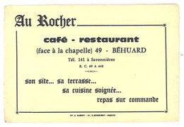 Carte Commerciale Publicitaire : Au Rocher, Café Restaurant, Béhuard - Publicités