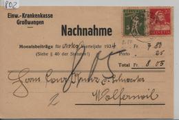 Postkarte 183 174 Mi. 201x 206x - Stempel: Grosswangen Nachnahme Nach Wolferswil 4. IV. 1934 - Switzerland