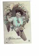 Cpa Thème Vendanges Vigne 1908 Femme élégante Grappe De Raisin Cadre Panier - Affection Sincère - PC 429 Style Art-déco - Viñedos