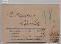 Ziffer/Chiffre 63A Mi. 56X - Stempel: Aarau Fahrpost Nachnahme  Nach Oberrüti Via Muri 28.V.1885 - Brieven En Documenten