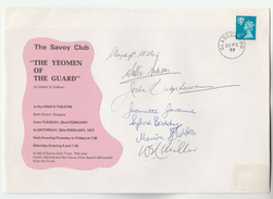 1977 SIGNED By 7,  KINGS THEATRE  The YEOMAN Of The GUARD OPERA  GLASGOW EVENT COVER Gb Stamps Music - Theatre