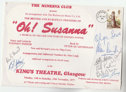 1977 SIGNED By 9, KINGS THEATRE  OH SUSANNAH Musical GLASGOW EVENT COVER Gb Stamps Music - Teatro