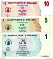 ZIMBABWE 1 5 10 DOLLAR 2006 P-37 38 39 UNC SET  [ZW128a-ZW130a] - Zimbabwe
