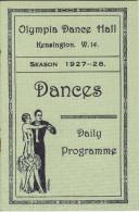 LONDON Olympia Dance Hall 1927 - 1928 Kensington Daily Programme Program - Programs