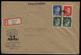 WW II DR Adolf Hitler R - Briefumschlag: Gebraucht Posen - Sparrenberg Augsburg 1944 , Bedarfserhaltung. - Briefe U. Dokumente