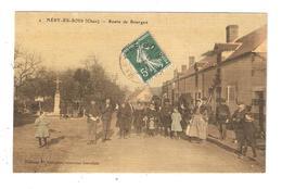 CPA 18 MERY Es BOIS Route De Bourges Animation Facteur Cheval Monument Colorisée Effet Toilé 1911 - Francia