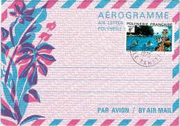 REF BR39 - POLYNESIE FRANCAISE - AEROGRAMME N°1 20F AVEC TPM 6F OBL. PHILATELIQUE - Aérogrammes