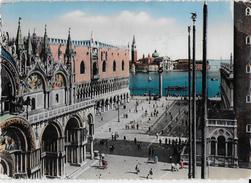 VENETO - VENEZIA - PIAZZA S. MARCO E ISOLA S. GIORGIO -EDIZ. BORGONI- COLORATA ANNI 50 - VIAGGIATA FRANCOBOLLO ASPORTATO - Venezia