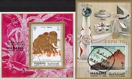 Japan  Osaka 1970 Manama Blocks 64+135 O 9€ Tiere Elefanten Mammut Hoja EXPO Blocs WWF Fauna Wildlife Sheets Bf VAE - Expositions Universelles