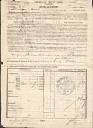 Chemins De Fer Du Nord - Lettre De Voiture  - Cachet PLM Camionnage Besançon - Le 7 Septembre 1860 - Marcophilie (Lettres)