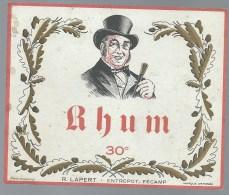 """Etiquette Rhum   """"des Pairs""""  R Lapert Fecamp 76 """"homme Chapeau Haut De Forme"""" - Rhum"""