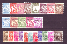 ANDORRE - TIMBRES TAXE Y&T N°1/8 - 16 - 17/20 - 21/31 - NEUF *