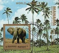 Wildlife Tierwelt 1972 Manama Block 182 O 2€ Afrika Tier Elefant Out Africa Bloque Hoja Bloc WWF Fauna Sheet Bf VAE - Used Stamps