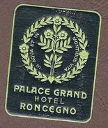 Belle Ptite étiquette Autocollante (années 30-40) Palace Grand Hôtel RONCEGNO, Province De TRENTE, ITALIE - Etiquettes D'hotels