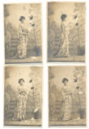 FANTAISIE - Lot De 4 CP - Femme En Tenue Japonaise , Mode, Robe, Coiffure - Effeuillage D'une Marguerite. 1904 (rl) - Vrouwen