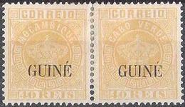 GUINÉ On Pair Of Cabo Verde & Moçambique 40 REIS Of 1885 Michel#13a (perf 12 1/2) * MH - Guinée Portugaise