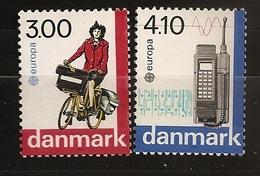Danemark Danmark 1988 N° 924 / 5 ** Europe, Emission Conjointe, Vélo, Poste, Téléphone, Portable Circuit Imprimé Facteur - Denmark