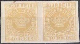 Se-tenant Pair Of Cabo Verde & Moçambique 40 REIS Of 1885 Michel#13F * MH - Cap Vert