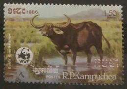 CAMBOYA 1986 World Nature Conservation. USADO - USED. - Sellos
