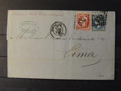 Yvers N°22 Et 24 Sur Lettre De Bordeaux à Destination De Lima - Pérou  / Peru Par Voie De Panama /  700 Euros - 1862 Napoléon III